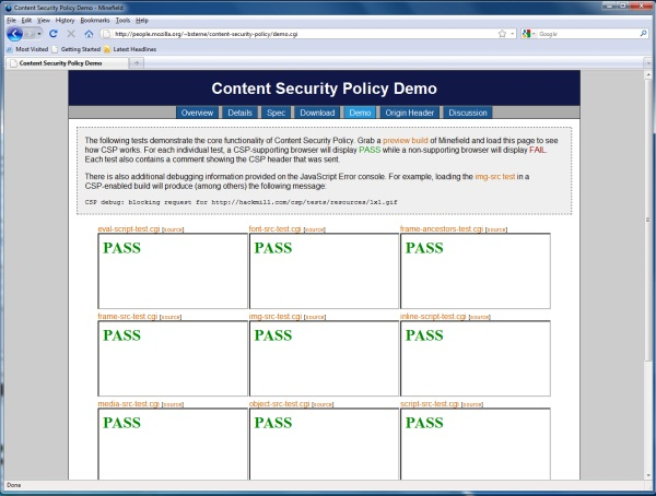 Mozilla Minefield 3.7 custom build with Content Security Policy attachment