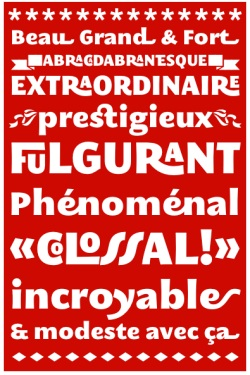 A typographical poster produced entirely in HTML using a suggested variation to the CSS3 standard, and a ligature-heavy font called MEgalopolis, in a test by Mozilla contributor Jonathan Kew.