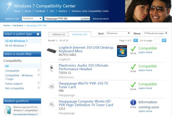 Hauppage PVR-350 TV tuner card shows up in Microsoft's Windows 7 Compatibility Center.