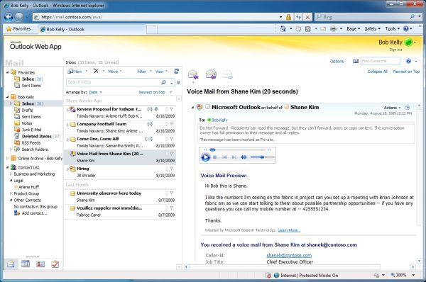 Microsoft Outlook Web App previews the textual contents of a voice mail.  [Courtesy Microsoft Corp.]
