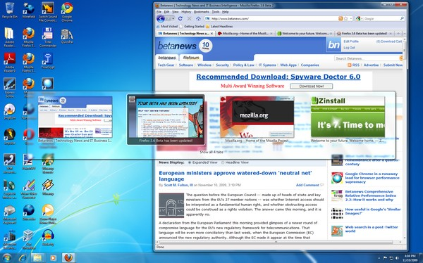 Beta 2 of Firefox 3.6 renders Betanews among its Ctrl Tab previews!