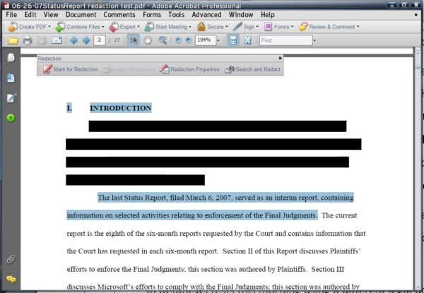 The redaction tool at work in Adobe Acrobat Professional 8, on a document other than the one involved in the TSA security incident.