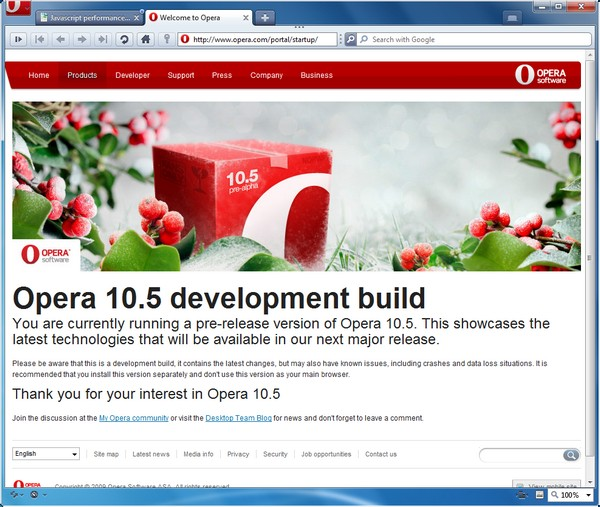 The new front end of Opera, from the version 10.5 'pre-alpha' released December 22, 2009.