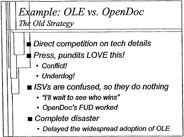 A slide from a 2000 Microsoft presentation from technical evangelist James Plamondon.  [Courtesy Groklaw]