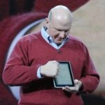 Microsoft CEO Steve Ballmer with HP's as-yet-unreleased 'Slate' PC