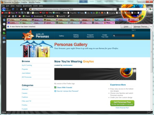 The 'Grayfox' Persona applied to the RTM version of Mozilla Firefox 3.6.