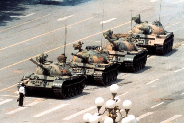 History's most iconic living symbol of the individual's stand against government oppression: one brave Chinese citizen against a column of tanks.