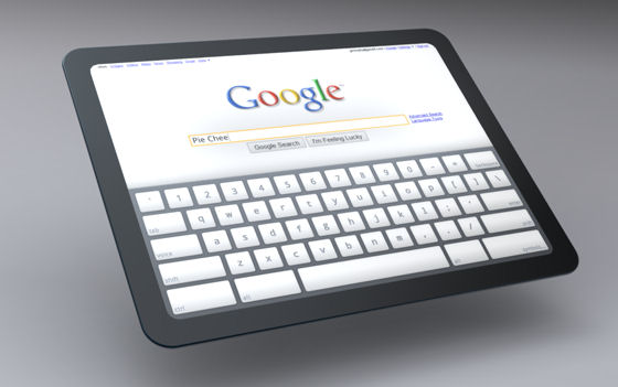 An artist's concept of a possible Chrome OS-based tablet PC, rendered by the Chromium OS team.