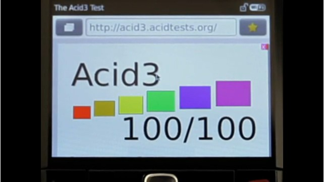 The first time the general public has ever seen a BlackBerry browser make any kind of score on the Acid3 test, let alone pass.