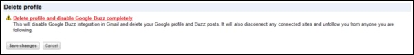 The added option for discontinuing Google Buzz, added to the Google Profile page.
