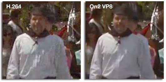 On2 Technologies created this comparison between its own VP8 codec and H.264.