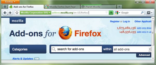 A mockup of the latest UI changes planned for Firefox 4.0, which now include a relocated Home button and a new Bookmarks button.