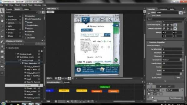 SketchFlow in Microsoft Expression Blend is used to generate a mockup of a Windows Phone 7 Series application, from MIX 10.