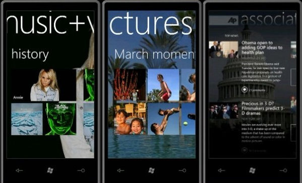 Three example apps on Windows Phone 7 Series: the Music library, the Pictures library, and the Associated Press news reader, from MIX 10.