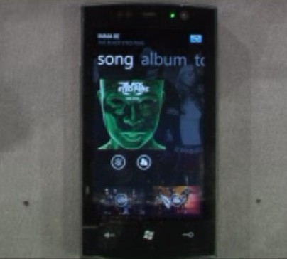 The Shazam song identifier service on Windows Phone 7 Series.  And what do you know, it just happened to correctly identify a Black Eyed Peas song.  From MIX 10.