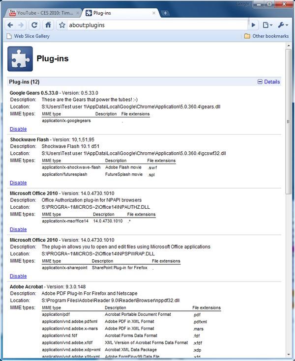 Versi�іN Actual Del Plugin Google Update