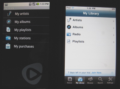 Rhapsody Android and iPod/iPhone side by side
