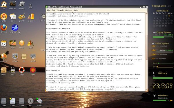 The Leafpad text editor for Linux.