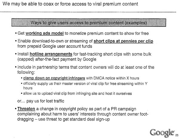 2006 google considered a pr campaign against content owners a slide from a 2006 google executives presentation showing they considered retaliating against content owners thecheapjerseys Images