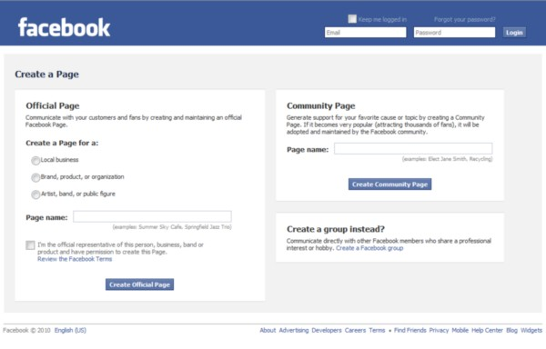 Facebook's invitation for just about anyone to build a 'Community Page' for just about any reason.