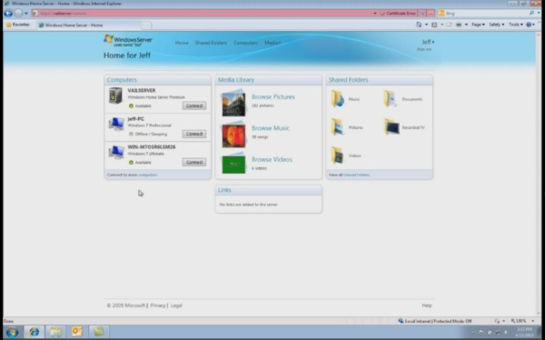 "The completely reworked Dashboard application for Windows Home Server ""Vail,"" made with Silverlight."