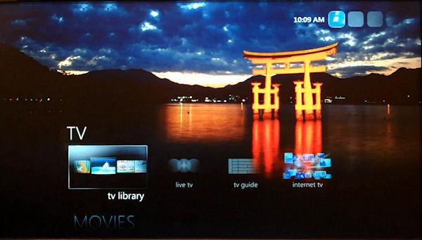 Customizable screen from Windows Media Center in Windows Embedded Standard 7.