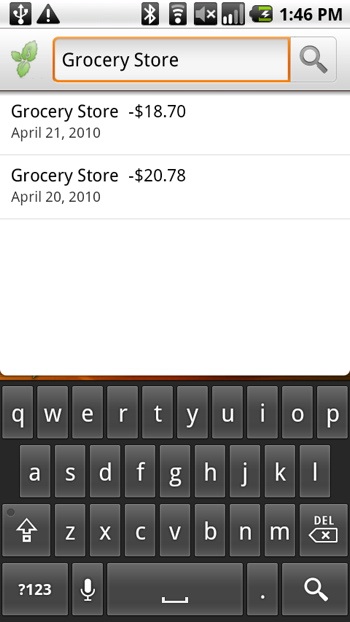 Mint for Android Quick Search enabled