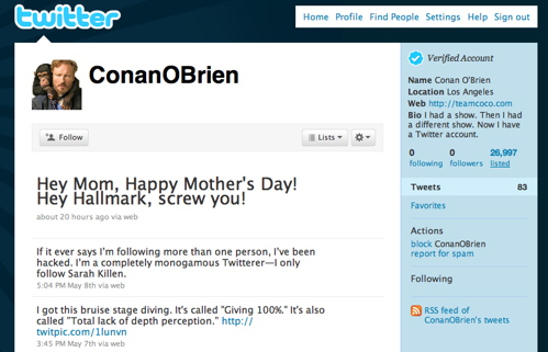 Conan O'Brien with 0 followers