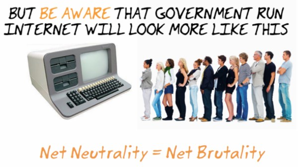 A poster from the NoNetBrutality group painting any effort at FCC regulation of the Internet as censorship in disguise.