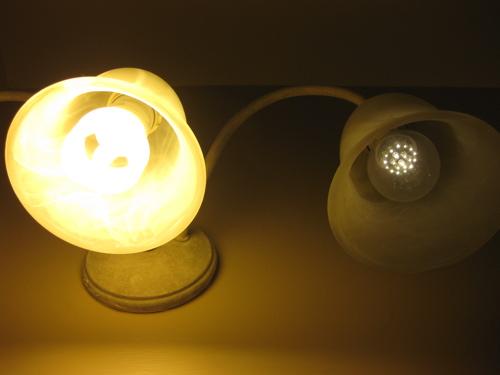 60W Compact Flourescent Bulb versus 40W LED bulb.