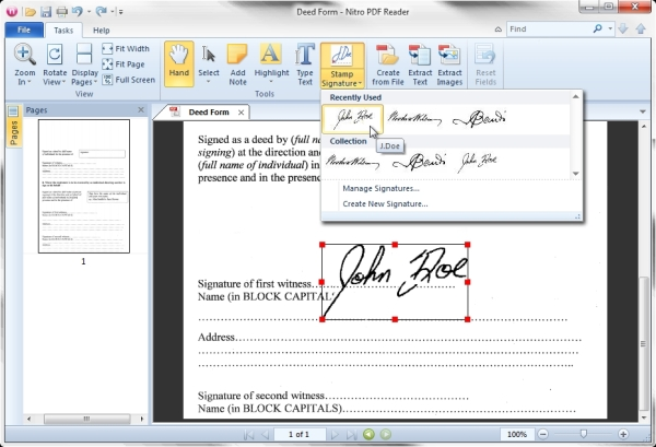 Nitro PDF Reader enables a fairly simple, though tremendously useful, quick feature: a way to sign any form using a scan of your signature.