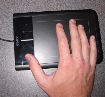Wacom Bamboo trackpad in use