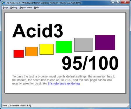 IE9 platform preview 4 scores 95% on Acid3