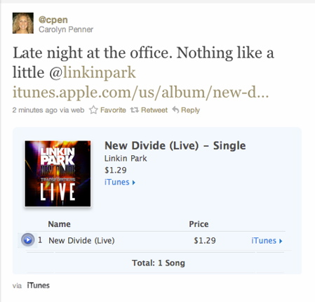 iTunes store link in Twitter