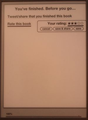Rate your book immediately upon completion in Kindle
