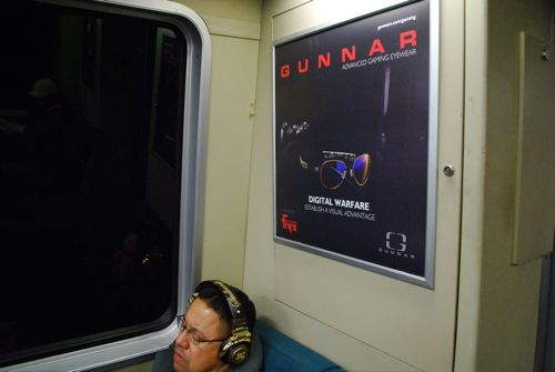 Gunnar advert on San Francisco's BART
