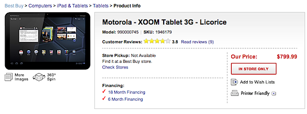Best Buy takes XOOM preorders -- get yours for (gasp) $800, not $600