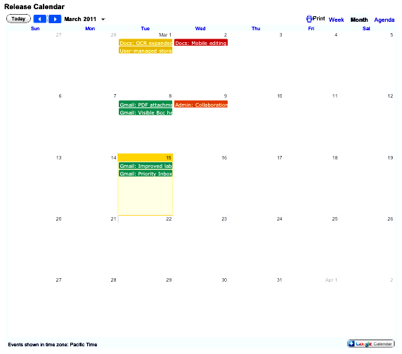 Google Apps Release Calendar