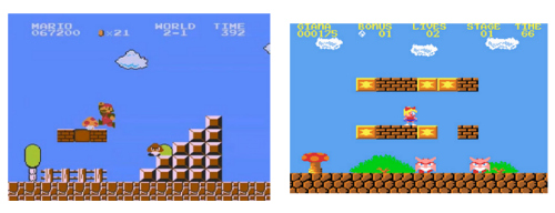 Super Mario Bros. (left) vs. Great Giana Sisters (right)