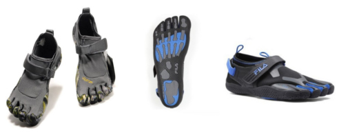 Vibram Five Fingers (left) vs. Fila Skele-Toes (right)