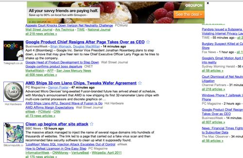 Anchor Free Hotspot Shield's ad bar across Google News.