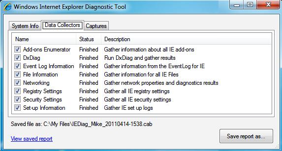 Windows Internet Explorer Diagnostic Tool