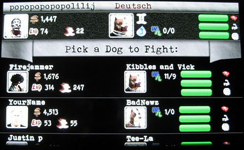 Fight selection screen, Dog Wars Android dog fight app