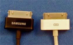 Samsung's Galaxy Tab connector next to iPod connector