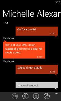 Windows Phone 7.5 integrated messaging