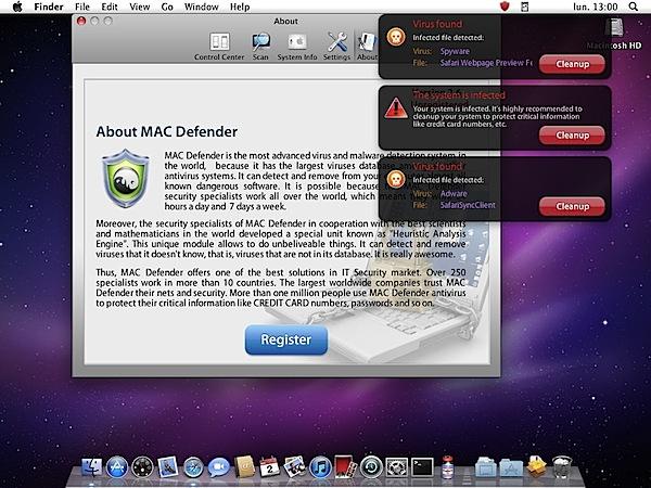 Mac Defender alert