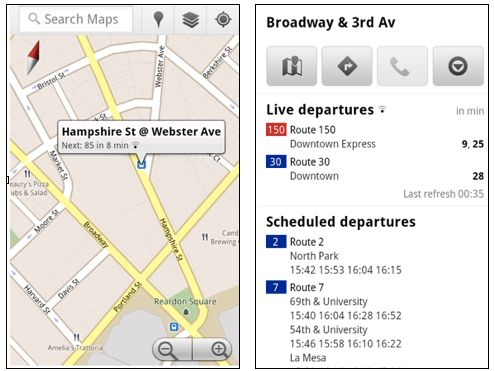 Google Maps real-time Transit for mobile