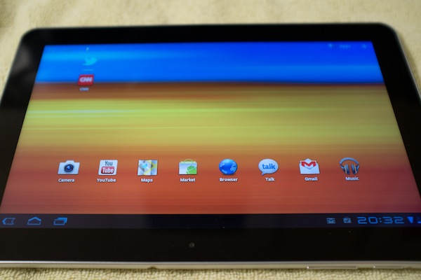 Galaxy Tab 10.1 home screen