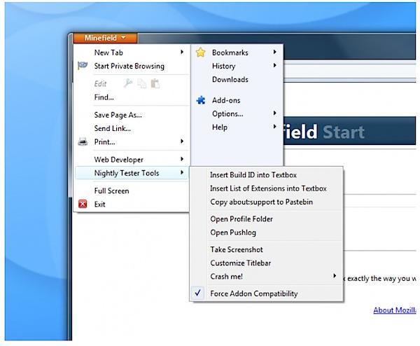 Mozilla Nightly Tester Tools