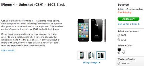 Unlocked iPhone 4, US Apple site